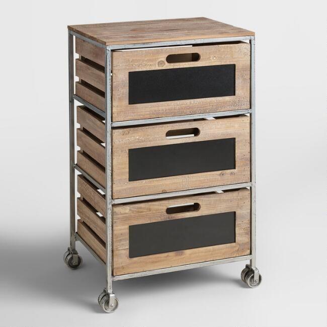 Wood and Metal 3-Drawer Mackenzie Rolling Cart