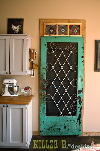 San Bernard Pantry: Cedar and Vintage. (Old screen door used for the pantry door... I LOVE THIS!!)