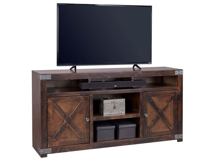 Bring a touch of farmhouse charm to your urban abode with this entertainment console. X-shaped door fronts reference rustic barn doors, while brackets on the edges allude to antique industrial style. With open and concealed storage, this TV stand gives you the perfect amount of storage and display space for your media consoles and accessories.