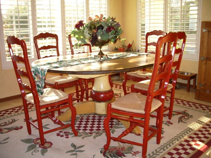 French Country Dining Room Red Chairs And Look At The Table