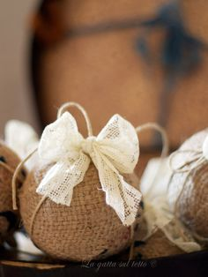 """There is something so lovely about burlap and I have to say that this would also be a lovely little gift for the many """"thank you""""s we owe.     A few styrofoam balls some string, burlap and pins and you're almost done. (this craft one evening with a fire in the fireplace and some nice red wine... ahhhh)"""