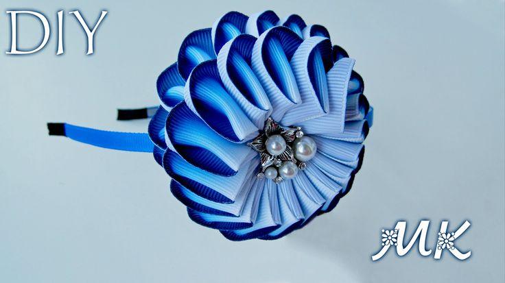 DIY: Зефирка Канзаши из ГРАДИЕНТНОЙ ленты / Headband marshmallow Kanzash...