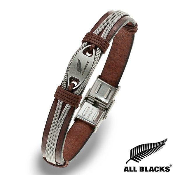 Bracelet Acier CUIR MARRON CABLE PLAQUE ALL BLACKS | BIJOUX ACIER POUR HOMME | RUGBY | WWW.TERREDEBIJOUX.COM