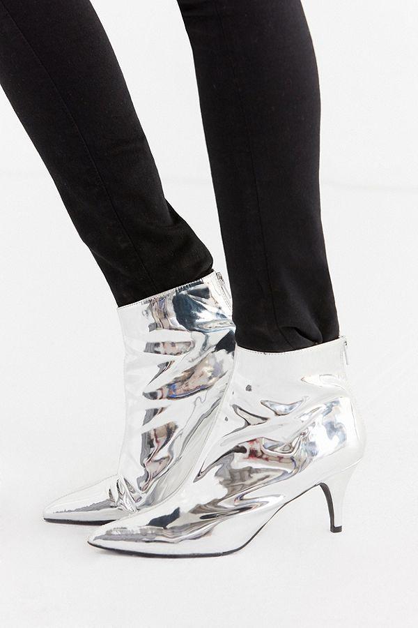 Slide View: 1: Remi Silver Kitten Heel Ankle Boot