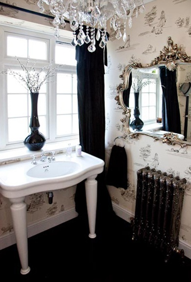 Elegant small bathroom black white toile wallpaper - Small crystal chandelier for bathroom ...