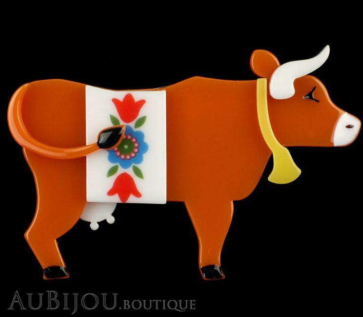 Erstwilder Brooch Pin Daisy Cow Orange