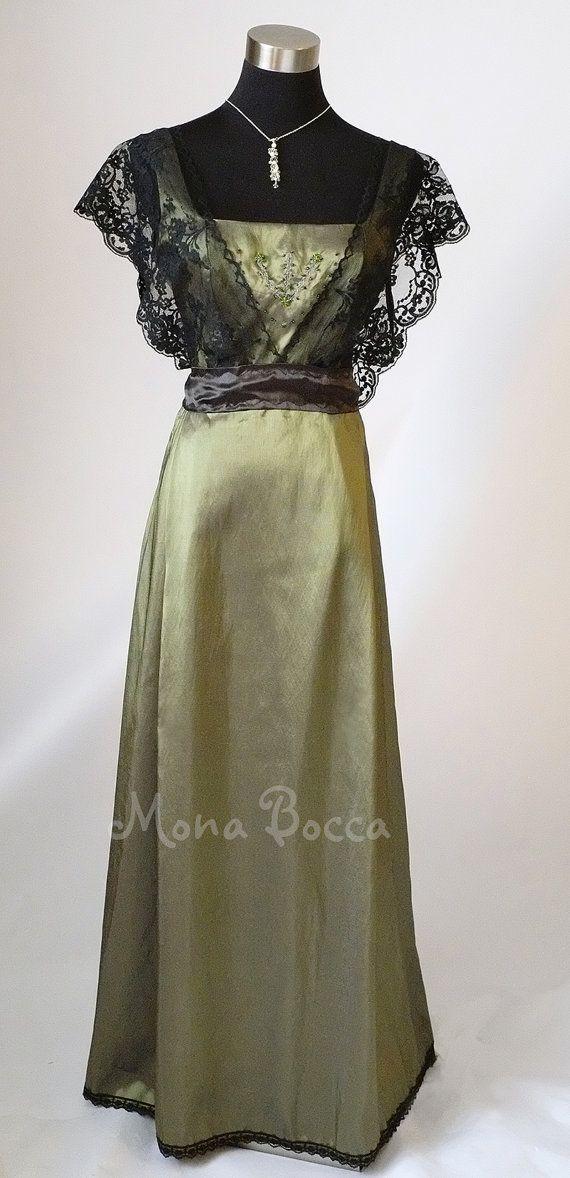 Edwardian Dress plus size handmade in England olive par MonaBocca