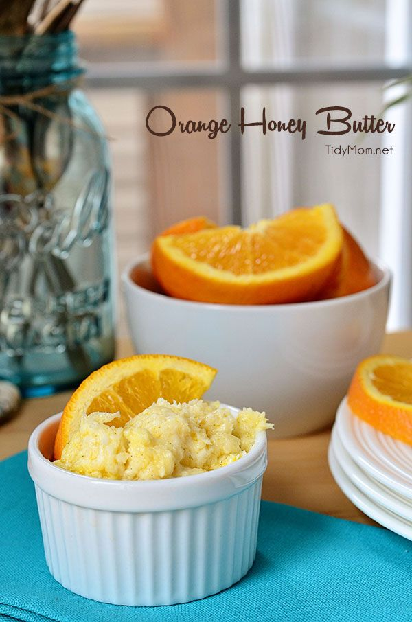 This would be so good on some citurs muffins - can't wait to try it! Orange Honey Butter recipe at TidyMom.net