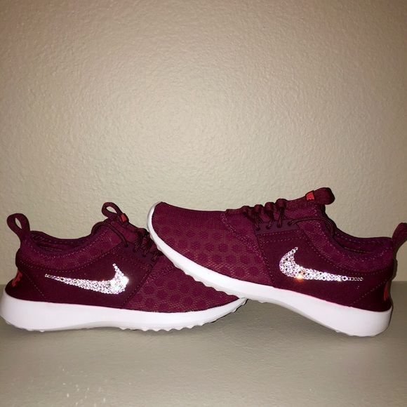 Nike Juvenate Burgundy with Swarovski Crystals *Note* Please order before Dec. 14th to receive before Christmas!  Authentic Women's Nike Juvenate Shoes in Burgundy. Perfect for the Holidays!  Outer swooshes are encrusted with hundreds of real Swarovski® crystals in all different sizes to ensure maximum brilliance and shine.  Shoes are brand new in original box, purchased directly from an authorized Nike retailer.  Crystals have been applied with industrial strength glue. Will never come off…
