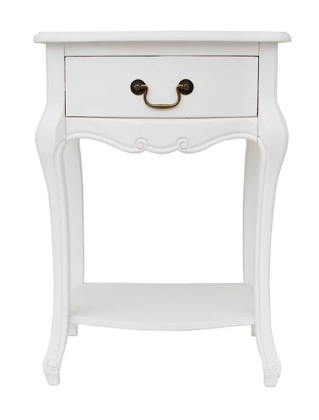 This extremely pretty white bedside table is the ideal addition to any stylish and chic bedroom. A single drawer and a very useful lower shelf provide the storage room. See the Elodie 3 drawer version in our Matching Ideas below. #BedsideTable #BedroomFurniture