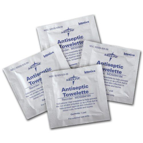 "Antiseptic Towelettes - 1000 EA by Medline. $29.97. 100/bx, 1000/cs. Benzalkonium Chloride Towelettes, 5"" x 7"" (13cm x 18cm). .4% BZK. Contains No Alcohol.. ? Benzalkonium chloride is anon-toxic and non-irritating antiseptic ? Gentle enough to use everyday ? Bactericidal and cleansing action for both hospital and personal use ? Individually wrapped ? Disposable ? Latex-free"