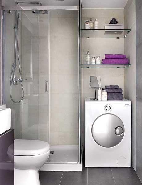 Simple tiny bathroom laundry room with washer dryer combo. hang clean clothes over washer/dryer and put sink in shower save a whole lot of space! More