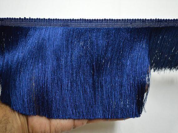 5'' Navy Blue Brush Fringe Trim by 4 Yard Tape Lace Gypsy Indian Bohemian Boho fringe trim Crafting Sewing ethnic Saree fringed ribbon retro 4