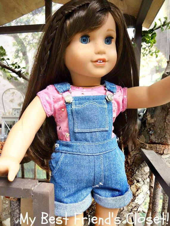 Denim Short Bibs with Pink/Silver Tee-18 in. American Girl Doll Clothes by MyBestFriendsCloset8 on Etsy https://www.etsy.com/listing/236024390/denim-short-bibs-with-pinksilver-tee-18
