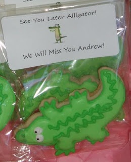 """See you later Alligator"" cookies- Really cute idea for a goodbye party,"