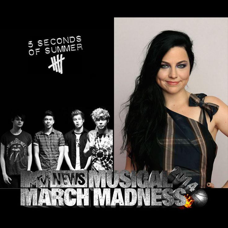 MTV Musical March Madness: now Amy Lee vs. 5 Seconds of Summer   ...   ایمی لی به دور دومِ رای گیریِ امتیوی رسید!  http://www.mtv.com/content/news/musical_march_madness/  آموزشِ رای دادن در لینکِ زیر: http://forum.evfans.ir/showthread.php?t=1277