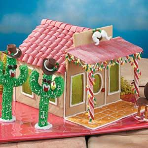 Gingerbread Ranch House Recipe (Taste of Home) -- Cheese Nip patio floor!: Gingerbread Ranch Houses, Christmas Wins, Christmas Recipes, Candy Houses, Gingers Breads Houses, Houses Recipes, Arizona Houses, Tasting Of Home, Christmas Gingerbread Houses