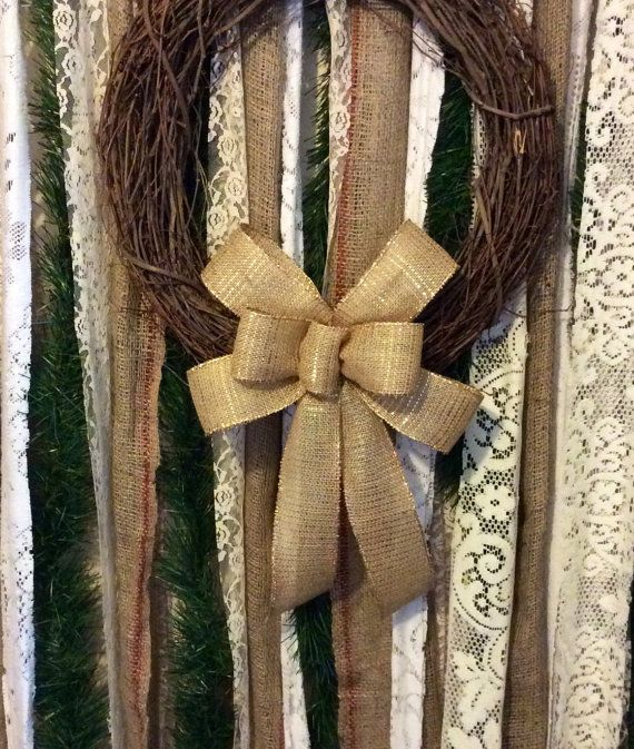 Fall Wreath Bows/ Glittered Burlap Wreath Bow by CustomBowsByJami on Etsy!