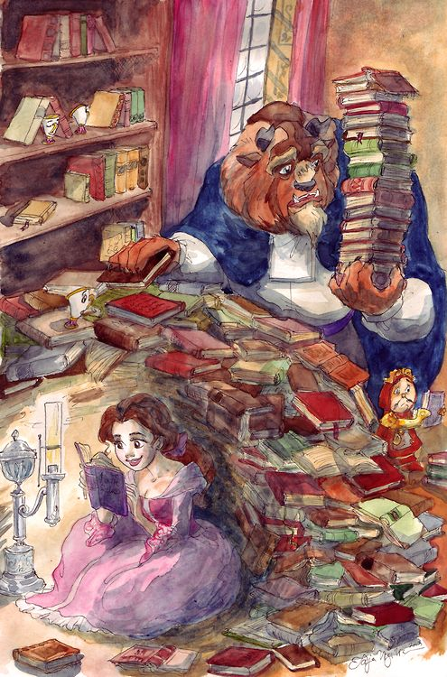 Where's Belle?  Last of the deviantArt random requests, this one was for FeatherEyed.  When I have lots of time after retirement in forty years I'll do this idea as a full-on Where's Waldo kind of page with Belle lost in the library but for now this was quite enough books to draw. :)