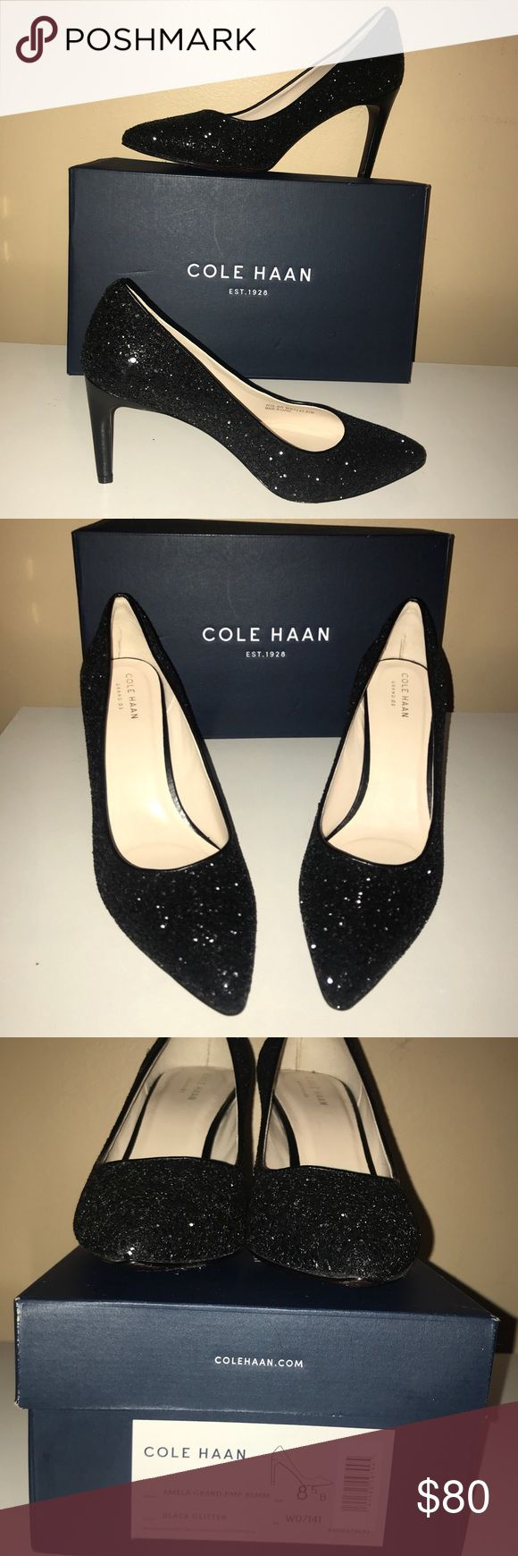 """🆕WORN 1x💙COLE HAAN💙Shimmery Black Glitter Heels 🆕WORN ONCE💙COLE HAAN💙""""Amelia Grand"""" Shimmering Black Glitter pointed Toe Heels. Size-8.5. Feels like an old favorite Thanks to the zero Grand cushioning along with their innovative Grand OS operating system. Engineered for flexibility & designed with lightweight , dual compound cushioning and Achilles padding for comfort and energy return. Leather Sole. Heel height- 3.5"""". Original cost $150. PLEASE NOTE: 1 Heel has a Knick.. See LAST…"""