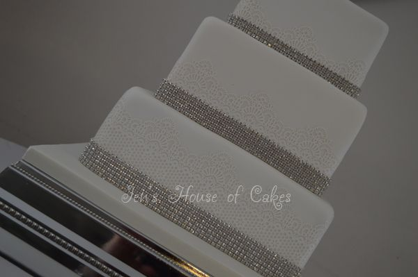 3 Tiered Wedding Cake with Edible Lace & Diamante Bands