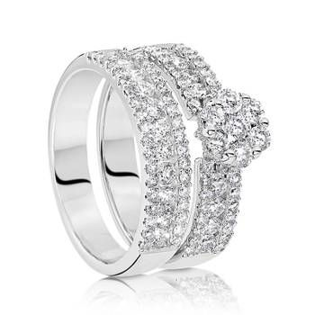 Stunning non-traditional bridal set from our NEW It Started With A Kiss Collection.   9ct White Gold Diamond Bridal Set