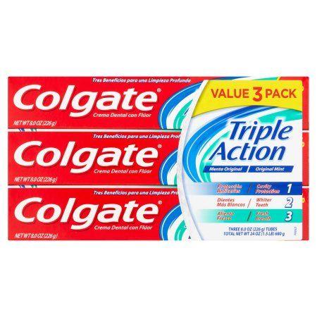 Colgate Triple Action Original Mint Fluoride Toothpaste, 3 count, 8 oz, Multicolor
