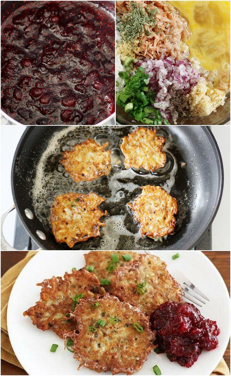 Potato Latkes w/ Cranberry Sauce #leftovers