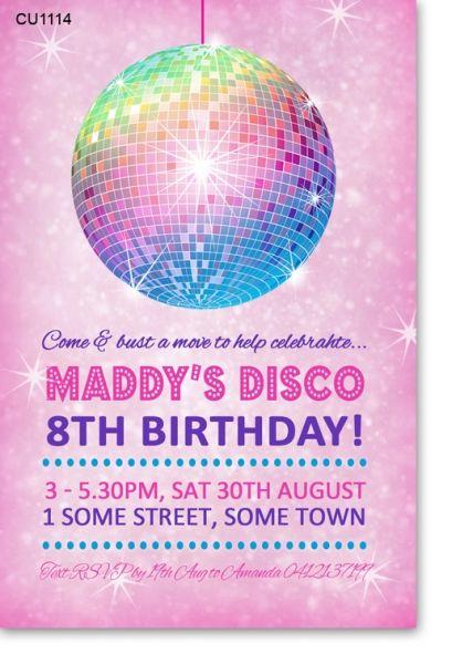 CU1114 - Girls disco Party Birthday Invitation