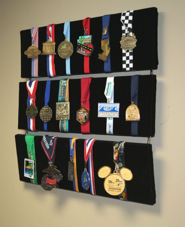 Another way to display medals - and it looks like pins could be attached quite easily too