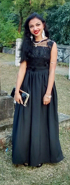 Long black A-line lace gown