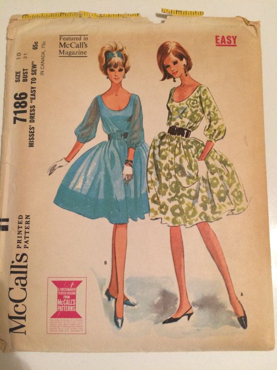 Adorable Vintage 1964 McCall's Dress Pattern 7186 by TheTinThimble