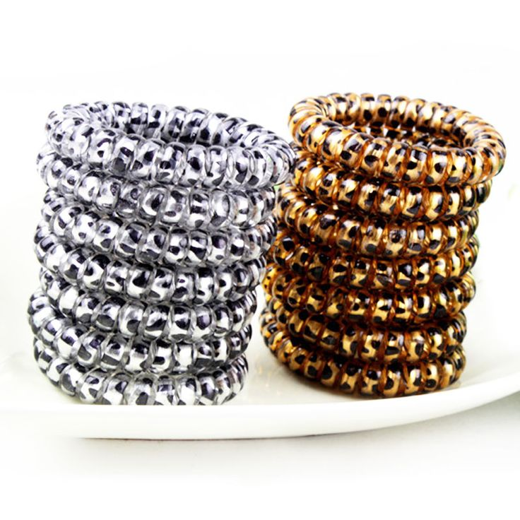 Fashion New Gold/Silver Leopard Elastic Hairbands ScrunchieTelephone Wire Hairbands Ponytail Holder (5pcs)