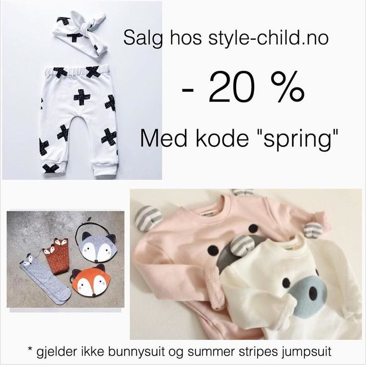 "@Stylechild_no har vårrengjøring! - 20 % på hele butikken frem til midnatt. Bruk kode ""spring""! PS: gjelder ikke bunnydrakt og summer stripes onepiece.  Spring cleaning at @stylechild_no! - 20 % discount on the whole shop today only. Use the code ""spring"" at check out. PS: does not apply on the Bunny suit and the summer stripes onepiece. by made.by.mee"