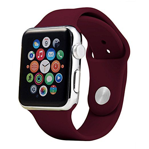 Soft Silicone Sport Replacement Bands S/M for Apple Watch Series 1, Series 2, Series 3, 38mm/42mm (38MM-Maroon)