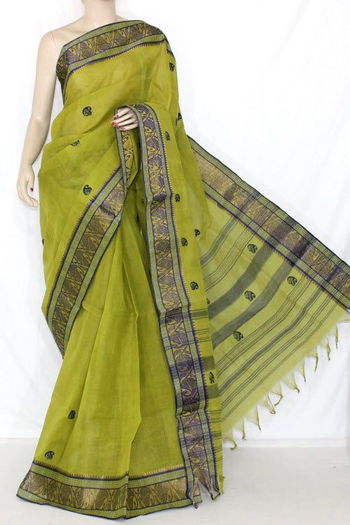 Menhdi Green Handwoven Dhaniakhali Bengali Tant Cotton Saree (Without Blouse) 13930
