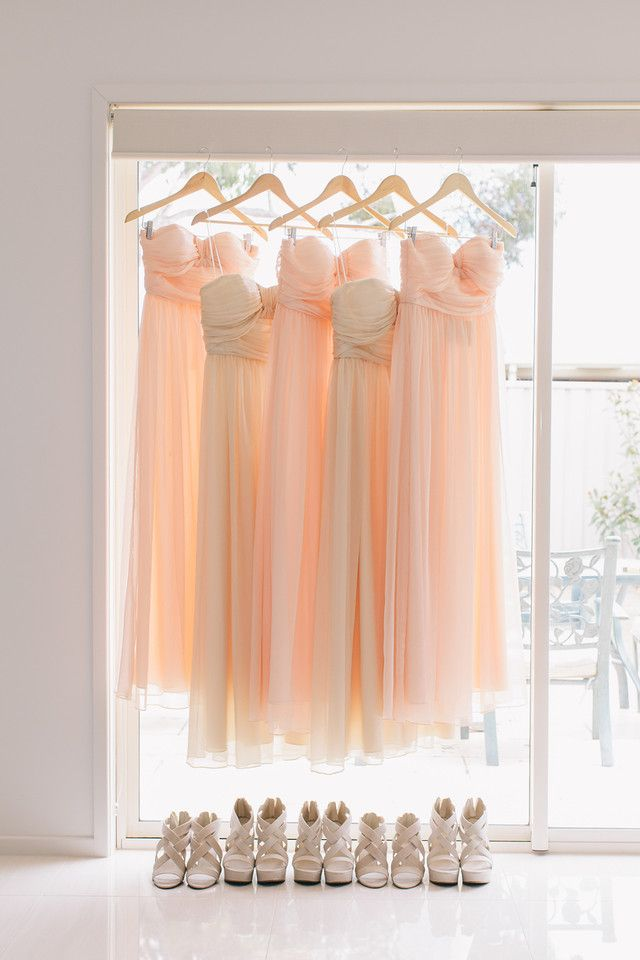 light coral and beige bridesmaid dresses - a perfect shot for your wedding album!