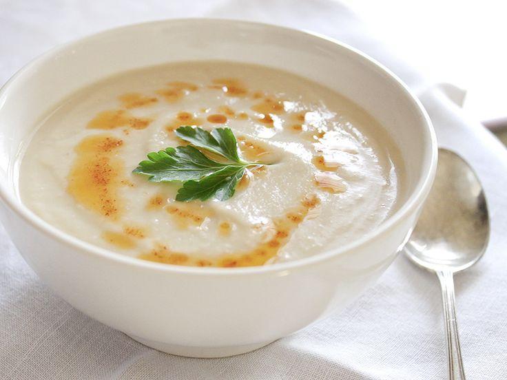 white velvet soup -  cauliflower, garlic and lima beans...vegan