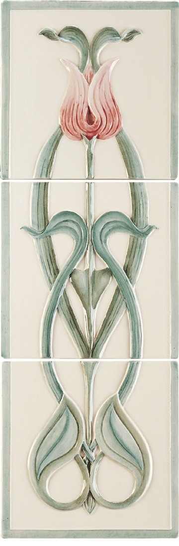 Angelina Pink Tulip - Relief Moulded Tile 3-Tile Set on Colonial White (each tile 6x6)