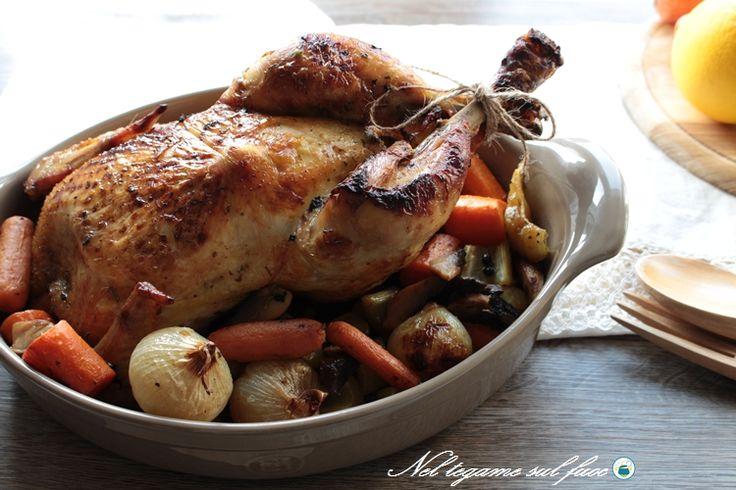 Pollo agli agrumi con verdure al forno