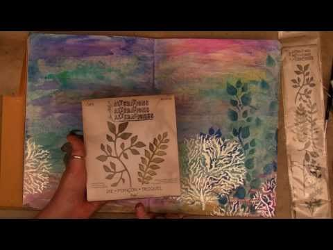 Art Journal Mermaid And Colouring With Ranger, Tim Holtz Products - YouTubeI just love this....need to get some of that Crystal Gel!!