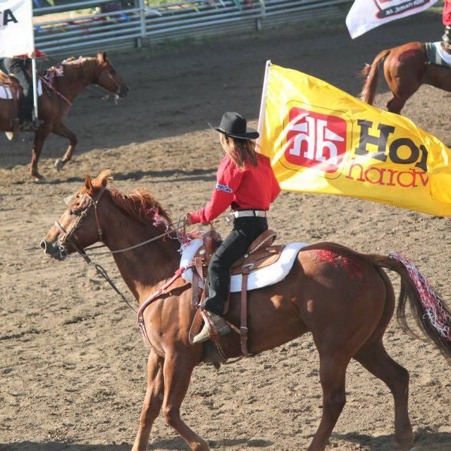 Home Hardware Flag at High Prairie Elks Pro Rodeo