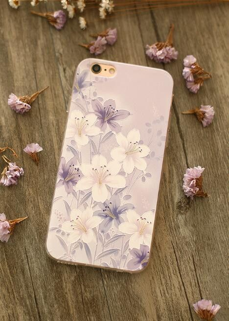 Fashion transparent embossed mobile phone case for Iphone 5 5s SE 6 6s 6Plus 6s Plus