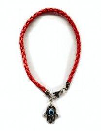 Leren red string Kabballah armband met Hamsa en roterende boze oog - AKTIE!