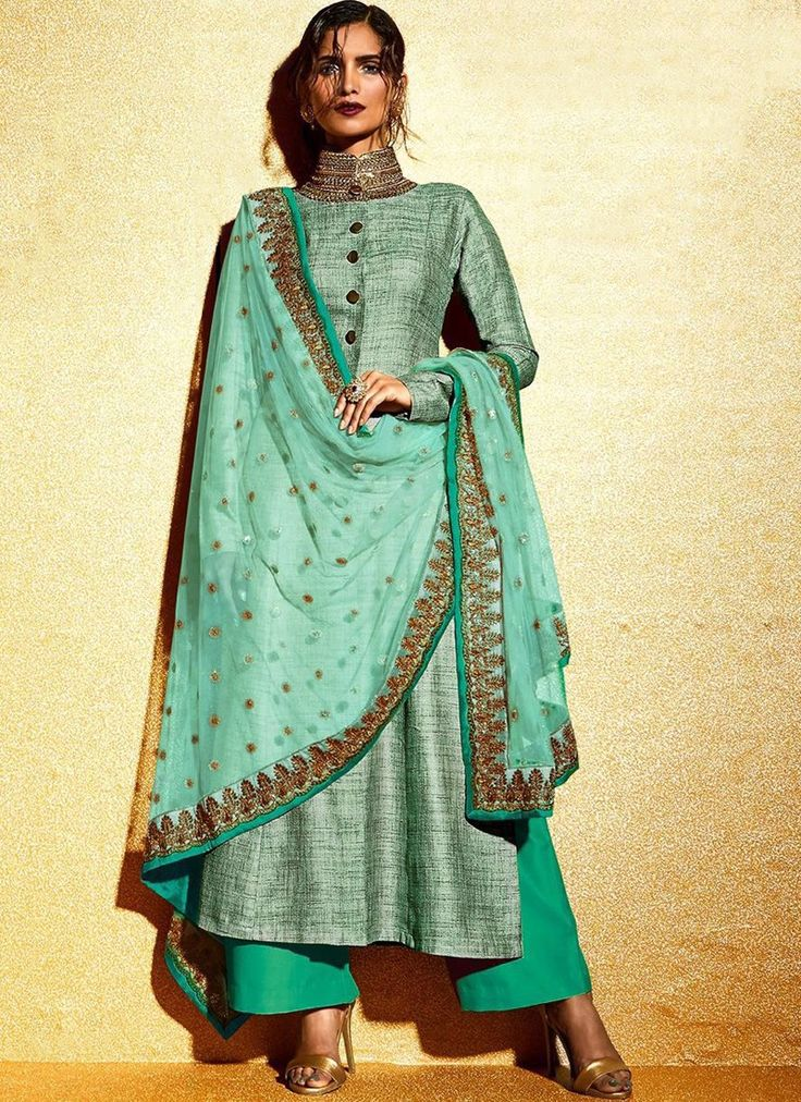 Light Green Embroidered Khadi Palazzo Suit