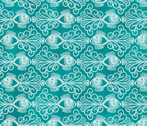 Looking out for our oceans_White on Aquamarine fabric by danidesign on Spoonflower - custom fabric