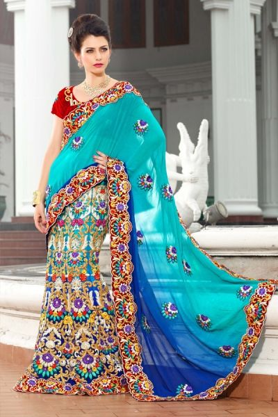 Blue and Navy Blue Viscose Lehenga Saree with Embroidery,Patch work,Lace work - Rs. 9999