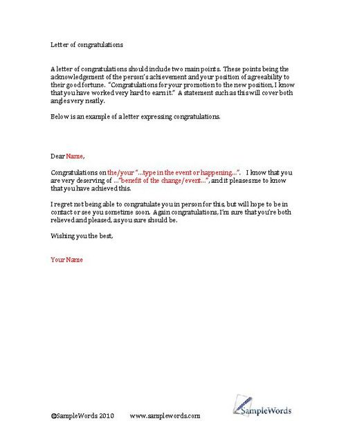Congratulations Letter Example Of A Congratulations