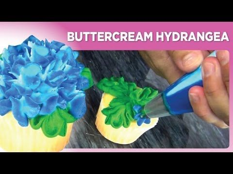 Buttercream Hydrangea by www.sweetwise.com  DONE!!  Did not use a #61 tip as I did not have one. Used regular leaf tip and they came out beautiful!!  JG