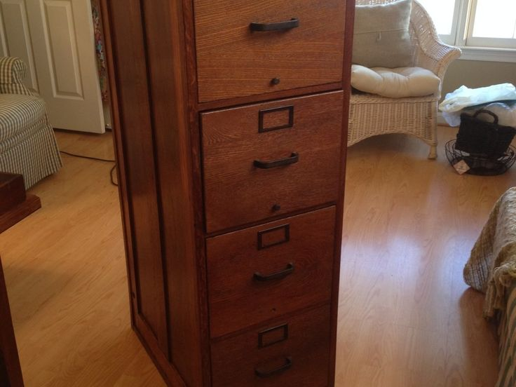 Wood Grain 4 Drawer File Cabinet